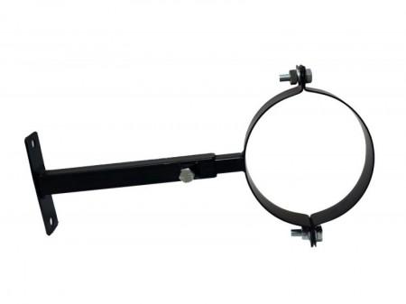 Fekete füstcsőbilincs állítható szárral 120 mm