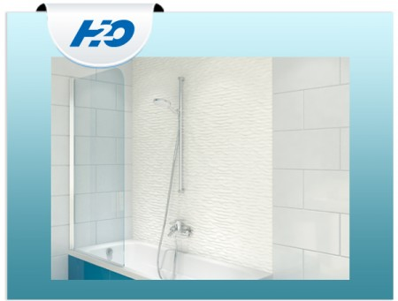 H2O Edzett üveges kádparaván (75x143cm)